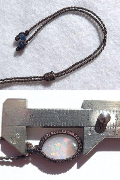 画像1: ライトニングリッジ産オパール マクラメ編みペンダント