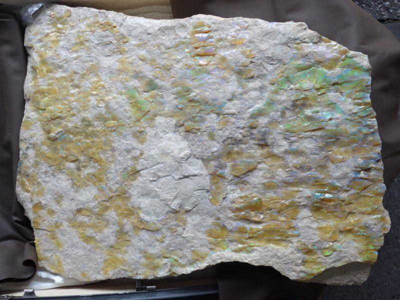 画像1: ミンタビー産大型岩盤付!ホワイトオパール原石 (1)